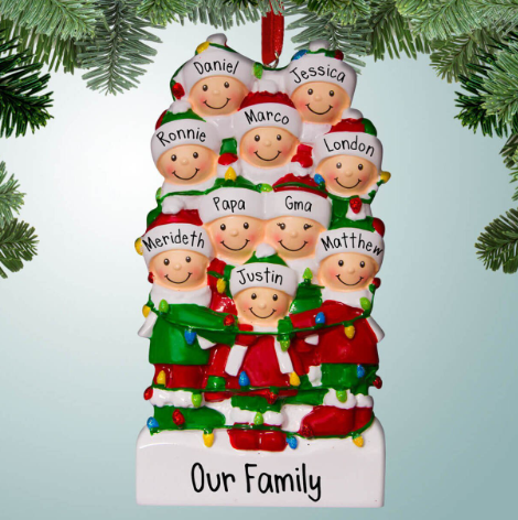 Family of 10 Christmas ornament